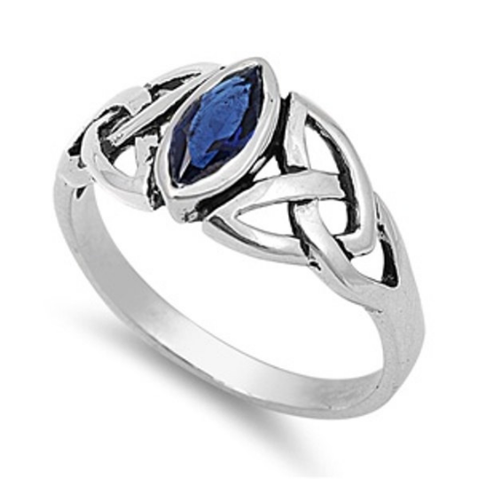 Celtic Design Sterling Silver Ring with Marquise Sapphire Blue Cubic Zirconia Gemstone HandCrafted Size 6 10