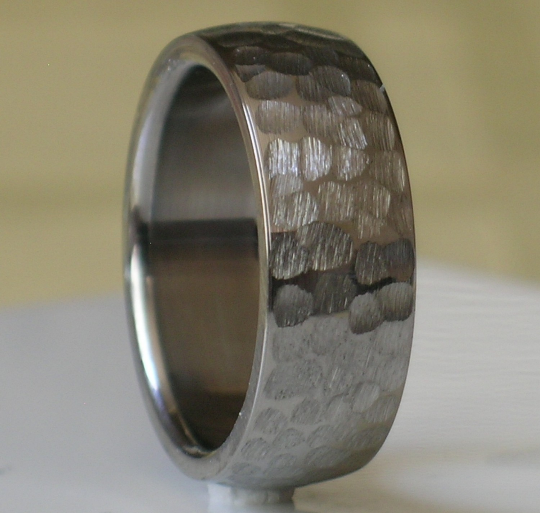 Titanium Wedding Band Comfort Fit Custom Designed Hammer Finish for Men and Women Available in Sizes 4-17