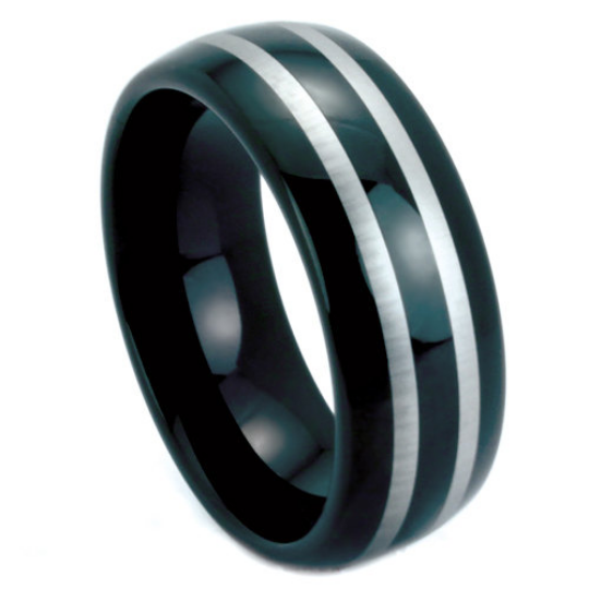 Black Tungsten Ring 8mm Band Double Row Two Tone Polish Finish Dome Design Sizes 9 10 11 12 13