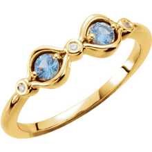 14kt Yellow Gold Blue Aquamarines Mothers Birthstone Ring