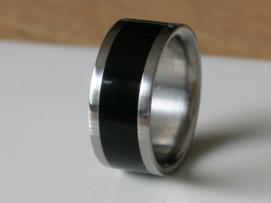 Custom Titanium Wood Wedding Band Exotic African Black Ebony Wood Inlay Rings available for Men and Ladies Size 4-17 Bands