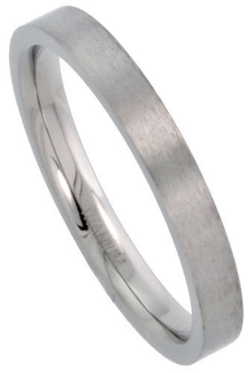Titanium Wedding Band Comfort Fit Ring 3mm Width Pipe Flat Matte Finish Polish Men or Womens Size 5 6 7 8 9 10 11 12