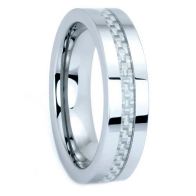 Tungsten Rings Carbon Fiber Inlay Wedding Bands 6mm Wide Comfort Fit Size 5 to 15 + Half Sizes