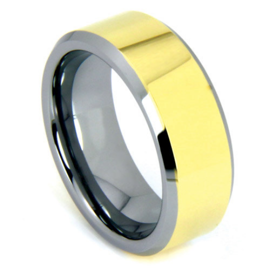 Tungsten Ring 6MM or 8MM IP Gold Tungsten Two Tone His or Hers Bands Polished Finish Wedding Band Sizes 5 - 13