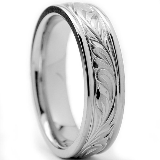 Titanium Wedding Band Comfort Fit Design Hand Engraved Unisex 6mm Width Polished Edges Available in Sizes 7 8 9 10 11 12 13