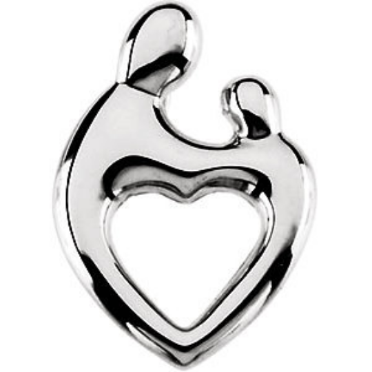 Mother and Child Heart Pendant 14kt White Gold 19.25X13.50MM