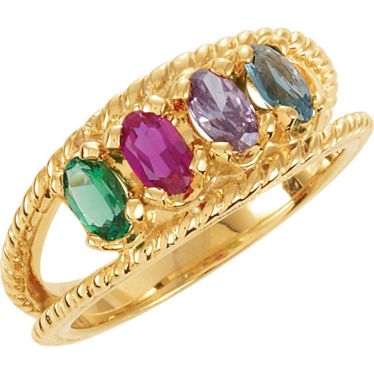 Four Stone Mothers Ring 14kt Yellow Gold Oval Stones Emerald Ruby Amethyst Blue Topaz any Birthstones Preffered Sz 3 4 5 6 7 8 9 Half Sizes