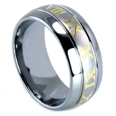 Tungsten Ring Roman Numeral Design 8MM IP Gold Tungsten Two Tone Polished Finish Wedding Band Sizes 7 - 15 + Half Sizes