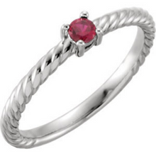 Mothers Ring in 14kt White Gold One Round 3.0mm Ruby Gemstones Pick Any Birthstone You Preffer Size 3 4 5 6 7 8 9 Half Sizes