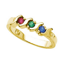 Mothers Ring Design 14kt Yellow Gold Three 2.4mm Stones any Combination of Gemstones you Preffer Size 3 4 5 6 7 8 9 Plus Half Sizes