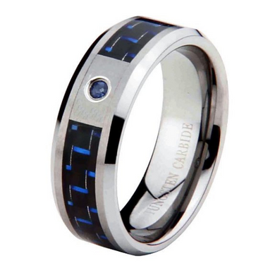 Tungsten Ring Blue Carbon Fiber Inlay Blue Sapphire Wedding Band 8mm Width Comfort Fit Size 5 to 15 + Half Sizes