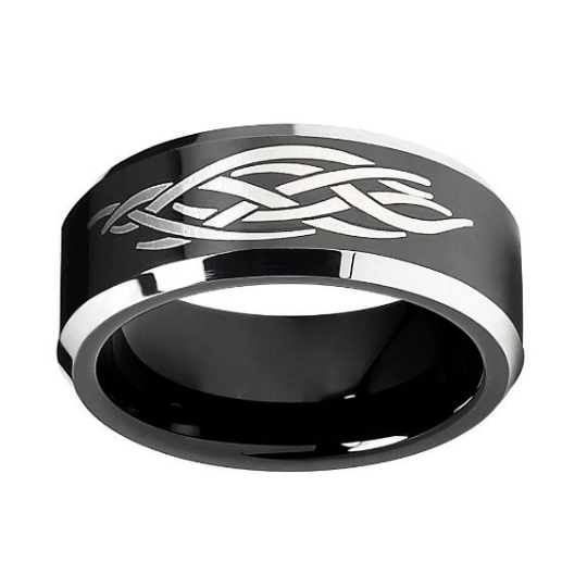 Tungsten Carbide 8MM Wedding Band Black Plated Tribal Design Ring Comfort Fit Design Size 8 8.5 9 9.5 10 10.5 11 11.5 12 12.5 13 13.5 14