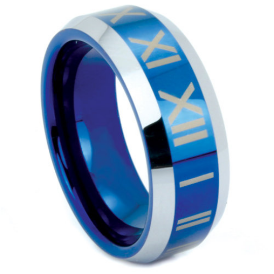 Blue Tungsten Ring Roman Numeral Design 8MM Polished Finish Wedding Band Sizes 10 11 12 13