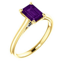 Amethyst Emerald Cut 7x5 Ring 14kt Yellow Gold and 14kt White Gold HandCrafted 7x5 Gemstone Sizes 4 5 6 7 8 9 10 Half & 1/4 Sizes