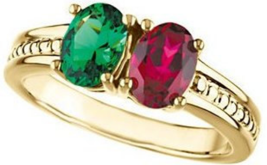 Mothers Ring Design 14kt yellow Gold 7.00X5.00mm Oval Ruby & Emerald Stone or any Gemstone Preffered Size 3 4 5 6 7 8 9 Plus Half Sizes