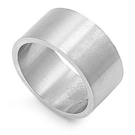 Sterling Silver Wedding Band 925 Satin Finish 12mm Custom Made Ring Wide Pipe Design Size 5 6 7 8 9 10 11 12 13 14 15