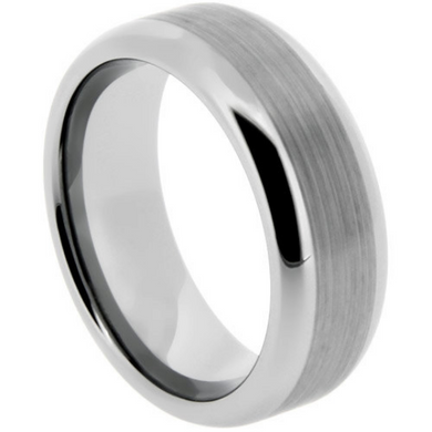 Tungsten Ring 6mm or 8mm Band Satin & High Polish Finish Beveled Edge Design Sizes 5-14