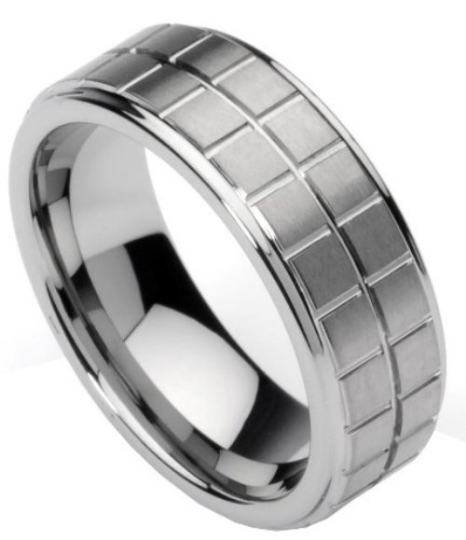 Men's Tungsten Rings Wedding Bands Boxed Design Polished Sizes 7 8 9 10 11 12
