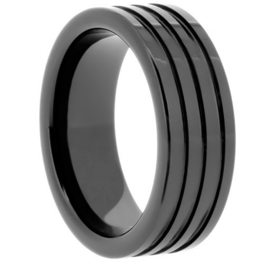 High Tech Ceramic Black Wedding Band 8mm Ring Multiple Grooves Size 6 -13 & Half Sizes