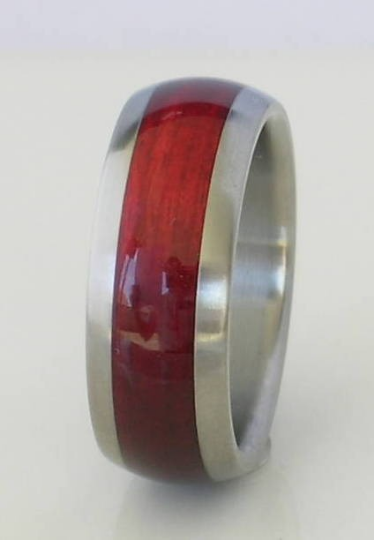 Titanium Wedding Band Wooden Ring Cherry Bahama Wood Rings Available in Sizes 4-18