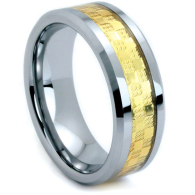 Tungsten Ring Flat Beveled Edge 6MM or 8MM IP Gold Tungsten Two Tone His or Hers Bands Satin & Polished Finish Wedding Band Sizes 5 - 13