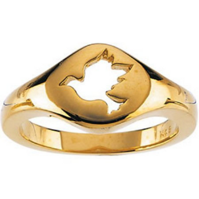 14kt Yellow Gold Dove Design Polished & Satin Finish Size 3 to 9 & 1/4 Sizes