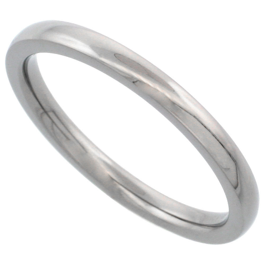 Titanium Wedding Band Comfort Fit Ring 2mm Width Domed Polished Finish Men or Womens Size 3 4 5 6 7 8 9 10 11 12