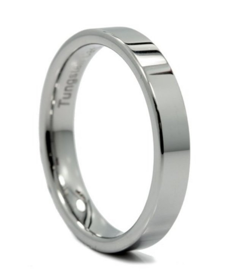 Tungsten Carbide 4MM Pipe Cut Flat Wedding Band Ring Comfort Fit Design High Polish Sizes 4 4.5 5 5.5 6 6.5 7 7.5 8 8.5 9 9.5 10 10.5 11