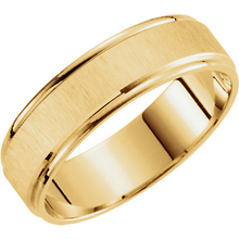 14kt Yellow Wedding Band 6mm Width Satin Finished Design Beveled Edge Size 7 8 9 10 11 12 And in 1/4 Size increments