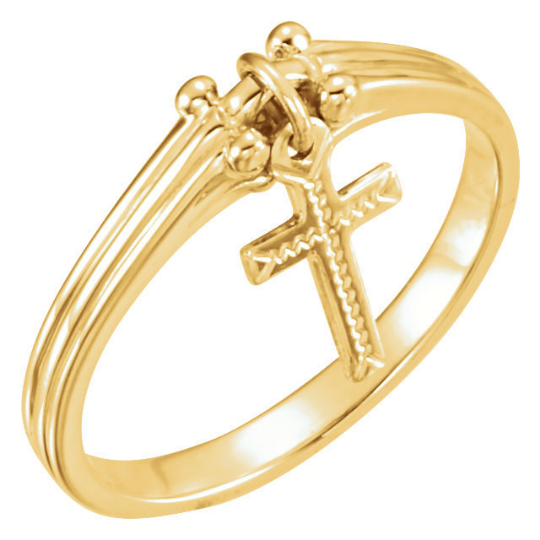 Cross Ring Religious Jewelry Ladies 14kt Yellow or 14kt White Gold Dangle Design Cross Size 3 4 5 6 7 8 9 Plus Half and 1/4 Sizes