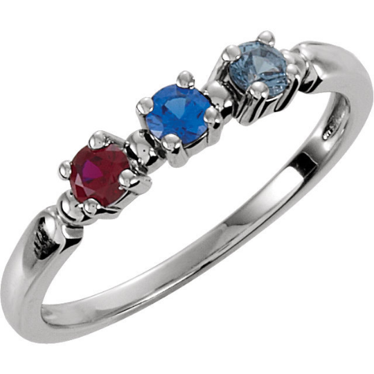 Mothers Three Stone Ring in 14kt White Gold 3.0mm Gemstones Pick Any Birthstone You Preffer Size 3 4 5 6 7 8 9 Half Sizes