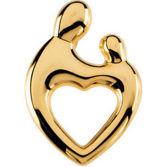 Mother and Child Heart Pendant 14kt Yellow Gold 24.50X17.50MM Width Shiny Finish