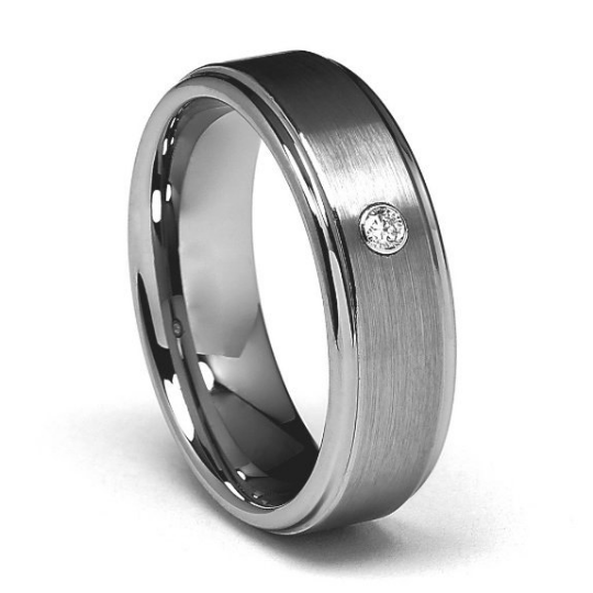 7mm Tungsten Carbide COMFORT FIT Wedding Band Round Diamond Set in White Gold Bezel Ring Men & Women Size 8.5 9 9.5 10 10.5 11 11.5 12 12.5