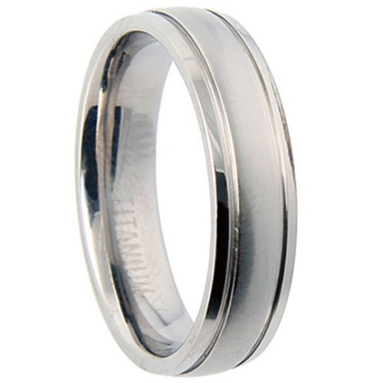 Titanium Wedding Band Comfort Fit Ring 6mm Width Half Dome Matte Finish Polish Men or Womens Size 7.5 8.5 9.5 10.5 11.5