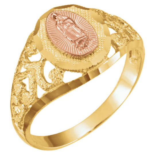 Two-Tone Our Lady of Guadalupe Ring Religious Jewelry Ladies 14kt Yellow and Rose Gold Ring Size 3 4 5 6 7 8 9 Plus Half and 1/4 Sizes