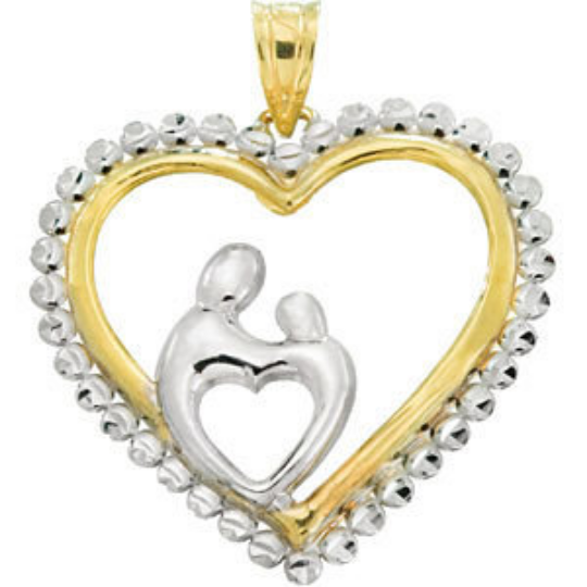 Mother and Child Heart Pendant 10kt Yellow Gold and White Rhodium Finish 23.00X22.75 MM Width Shiny Finish