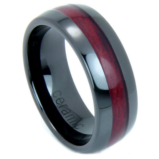 Black Wedding Band Wood Inlay 8mm Dome Ring High Tech Ceramic Size 7 8 9 10 11 12 13