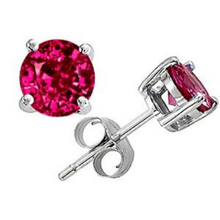 Ruby Earrings in 14kt White Gold Any Birthstones