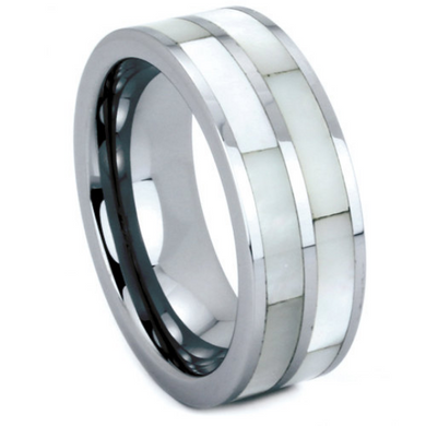 Tungsten Wedding Band His or Hers 6MM & 8MM Double Row Mother of Pearl Shell Inlay Unique Design Polished Ring FREE gift Box Size 5 to 13