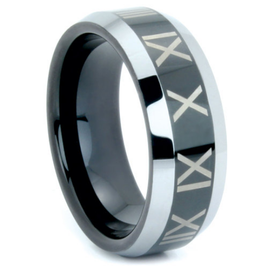 Black Tungsten Ring Roman Numeral Design 8MM Polished Finish Wedding Band Sizes 9 10 11 12 13