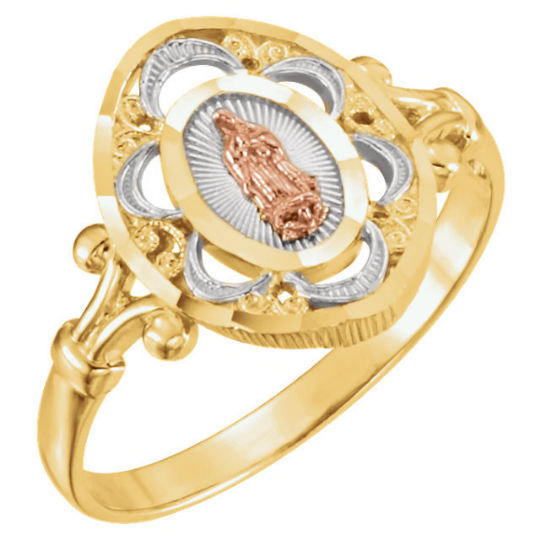 Tri-Color Our Lady of Guadalupe Ring Religious Jewelry Ladies 14kt Yellow Gold Ring Size 3 4 5 6 7 8 9 Plus Half and 1/4 Sizes