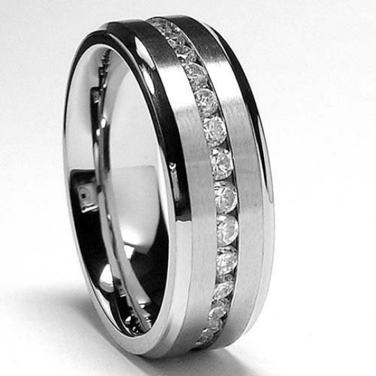 Men's Titanium Eternity Ring 8mm Band Round Cubic Zirconia Gemstones sizes 7 7.5 8 8.5 9 9.5 10 10.5 11 11.5 12 13