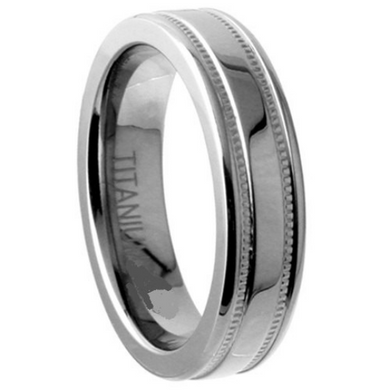 Titanium Wedding Engagement Band 5mm Width Milgrain Polished Flat Design Size 5 6 7 8 9 10 11 12
