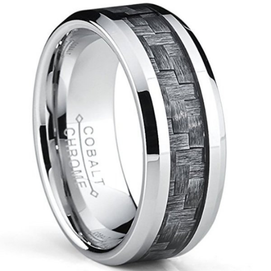 Cobalt Ring Gray Carbon Fiber Inlay Wedding Band 8mm width Comfort Fit  Polished Edges Sizes 7 7.5 8 8.5 9 9.5 10 10.5 11 12 13
