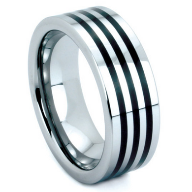 Tungsten Ring 8mm Band Triple Row Black Resin Polished Finish Flat Design Sizes 9 10 11 12 13
