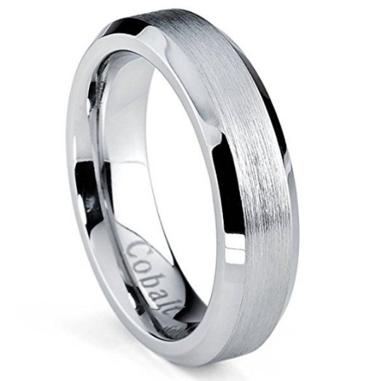 Cobalt Chrome Wedding Band 5mm Satin Beveled Edges Comfort Fit Sizes 5 6 7 8 9 10 11 12 & Half Sizes