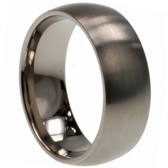 Titanium Wedding Band Comfort Fit Ring 8mm Width Matte Finish Polish Men or Womens Size 8 9 10 11 12 13 14 15 and 1/2 Sizes