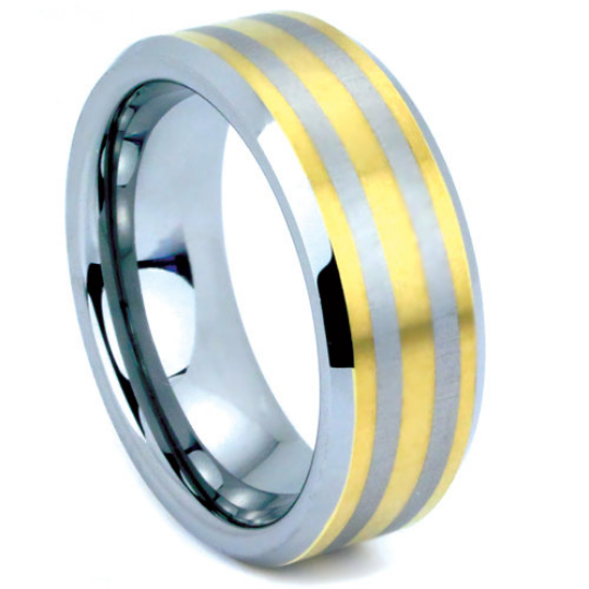 Tungsten Ring 8MM IP Gold Tungsten Two Tone Polished Finish Wedding Band Sizes 5 - 15 + Half Sizes