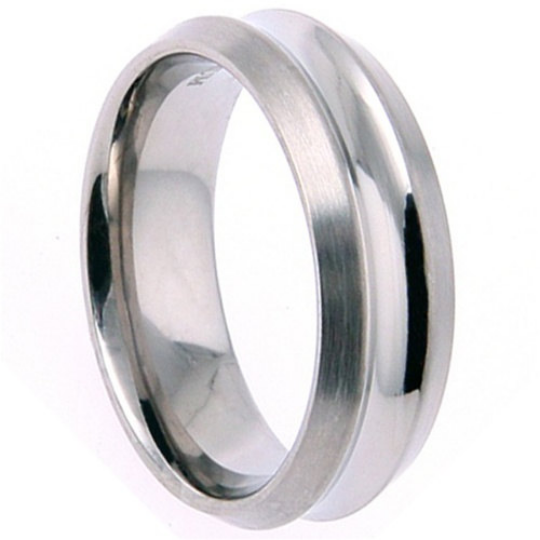 Titanium Wedding Band Comfort Fit Ring 7mm Width Satin Finish Polished Grooved Center Men or Womens Size 9 10 11 12 13