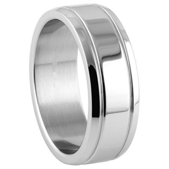 Silver Wedding Band Sterling 925 Polished Finish 8mm Custom Made Double Groove Design Size 5 6 7 8 9 10 11 12 13 14 15